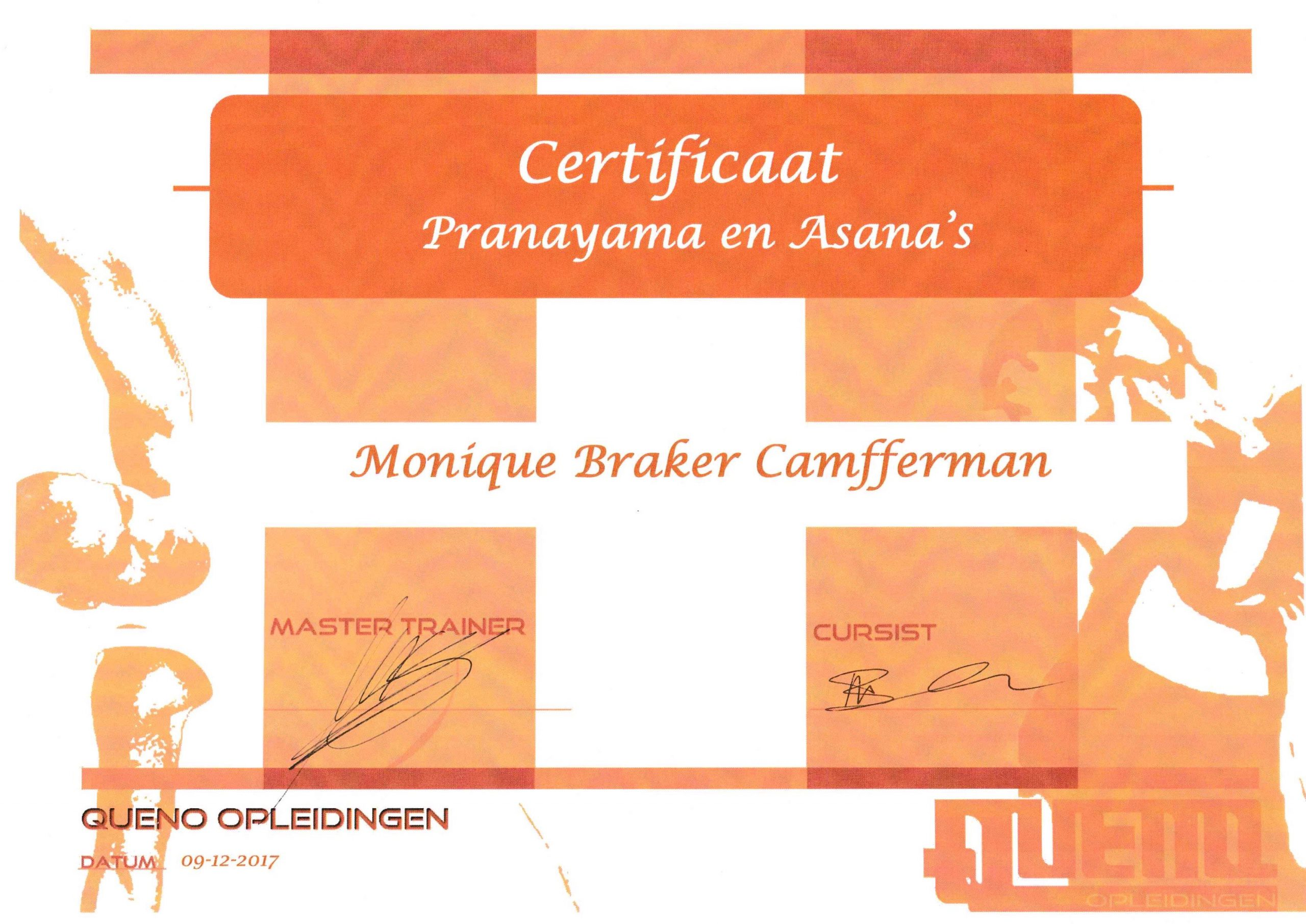 Certificaat Pranayama en Asana's