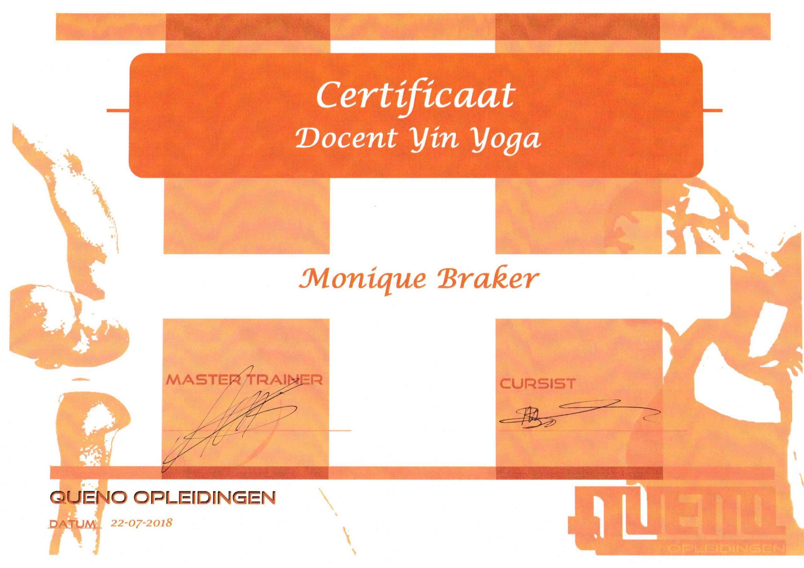 Certificaat Docent Yin Yoga