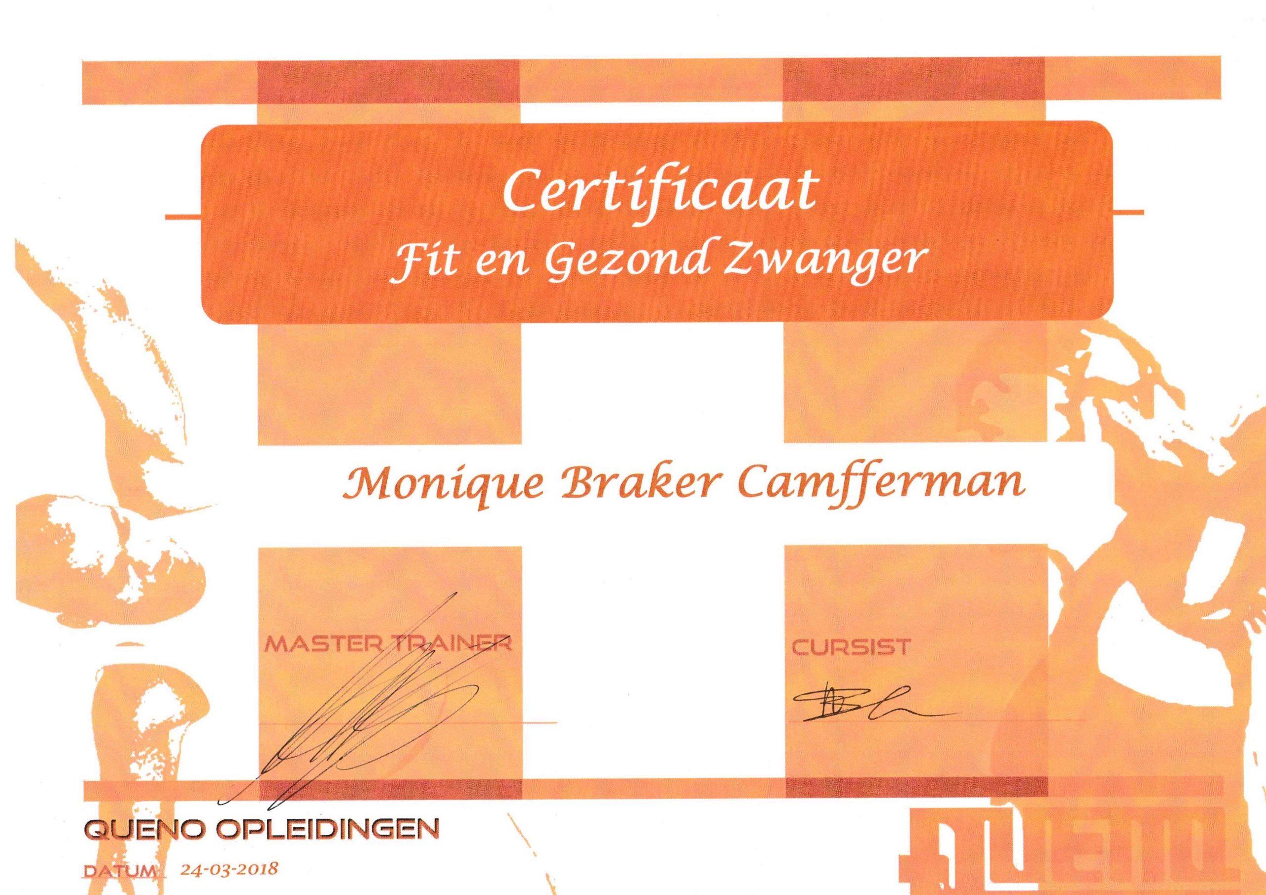 Certificaat Fit en Gezond Zwanger
